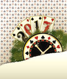 Nuevo fondo del casino de 2017 años con los elementos del póker Fotografía de archivo libre de regalías