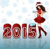 Nuevo fondo feliz de 2015 años con la muchacha de Papá Noel Imagenes de archivo
