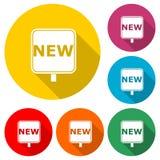 Nuevo, nuevo icono o logotipo, sistema de la muestra de color con la sombra larga libre illustration