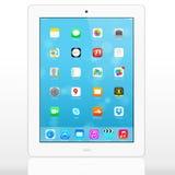 Nuevo IOS 7 1 2 homescreen en una exhibición blanca del iPad Imagen de archivo