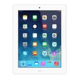 Nuevo IOS 7 1 2 homescreen en una exhibición blanca del iPad Foto de archivo