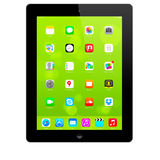 Nuevo IOS 7 1 2 homescreen en una exhibición negra del iPad Fotografía de archivo
