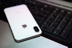 Nuevo Iphone X en el color blanco Imagen de archivo