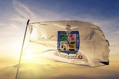 Nuevo Leon tillstånd av tyg för torkduk för Mexico flaggatextil som vinkar på den bästa soluppgångmistdimman arkivfoton