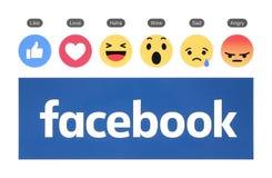 Nuevo logotipo de Facebook con el botón similar y la reacción comprensiva de Emoji foto de archivo libre de regalías