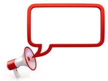 Nuevo megáfono rojo con discurso de la burbuja Fotos de archivo