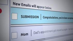 Nuevo mensaje del buzón de entrada del correo electrónico genérico - letra de aceptación de la universidad en correo electrónico stock de ilustración