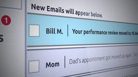 Nuevo mensaje del buzón de entrada del correo electrónico genérico - correo electrónico del negocio sobre evaluación del rendimie stock de ilustración
