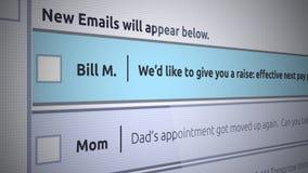 Nuevo mensaje del buzón de entrada del correo electrónico genérico - correo electrónico del negocio sobre un aumento salarial o u ilustración del vector