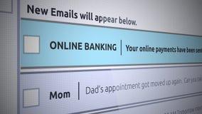 Nuevo mensaje del buzón de entrada del correo electrónico genérico - pago de la confirmación de las actividades bancarias en líne ilustración del vector