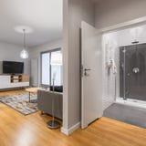 Nuevo, moderno interior plano en blanco fotos de archivo libres de regalías
