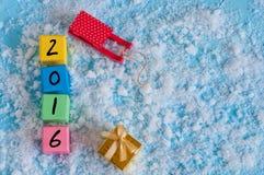 Nuevo número de madera de 2016 años en los cubos de madera del color Imágenes de archivo libres de regalías