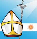 Bandera de la Argentina de la pizca de los símbolos de Vatican ilustración del vector