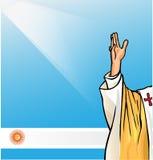 Nuevo papa con la bandera de la Argentina Imágenes de archivo libres de regalías