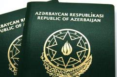 Nuevo pasaporte de Azerbaijan con el microchip Fotografía de archivo