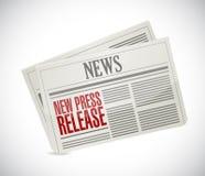nuevo periódico del comunicado de prensa Imagenes de archivo