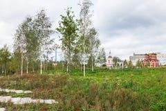 Nuevo prado verde en el parque de Zaryadye en Moscú Imagenes de archivo