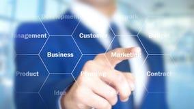 Nuevo principio, hombre de negocios que trabaja en el interfaz olográfico, gráficos del movimiento stock de ilustración