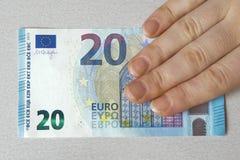 Nuevo problema 2015 de los billetes del dolar del billete de banco del euro veinte 20 Imagen de archivo libre de regalías