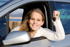 Nuevo propietario de coche Imagen de archivo libre de regalías