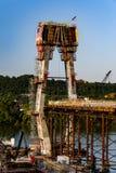 Nuevo puente de Ironton-Russell bajo construcción - el río Ohio - Ohio y Kentucky foto de archivo
