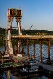 Nuevo puente de Ironton-Russell bajo construcción - el río Ohio - Ohio y Kentucky fotografía de archivo