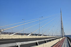 Nuevo puente de la carretera en Belgrado, Serbia imagenes de archivo