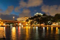 Nuevo río en el pie céntrico Lauderdale en la noche, la Florida, los E.E.U.U. fotografía de archivo libre de regalías