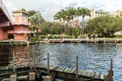 Nuevo río en Fort Lauderdale céntrico, la Florida imagen de archivo