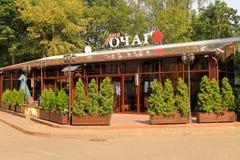 Nuevo restaurante de centro en la ciudad de Svetlogorsk Foto de archivo