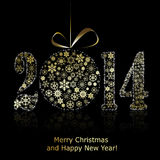 Nuevo símbolo de 2014 años en backround negro. Tarjeta de felicitación de la Navidad Fotos de archivo libres de regalías