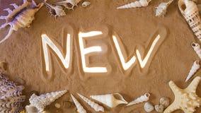 Nuevo símbolo a mano en la arena Seashell de la concha de peregrino en color de rosa Visión superior Foto de archivo