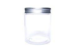 Nuevo tarro o beneficiario plástico transparente con el casquillo de aluminio fotografía de archivo libre de regalías