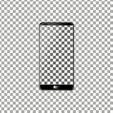 Nuevo teléfono delantero y vector negro que dibuja el formato eps10 aislado en fondo transparente libre illustration