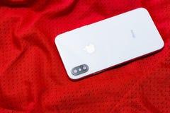 Nuevo teléfono elegante de Iphone X Apple más nuevo Iphone 10 Imagen de archivo libre de regalías