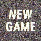 Nuevo texto de la interferencia del juego Efecto del anáglifo 3D Fondo retro tecnológico Ilustración del vector Modelo creativo d stock de ilustración