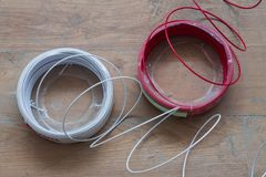Nuevo THW de conexión eléctrico 1 5 milímetros estándar de la electricidad Fotografía de archivo