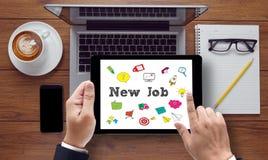 Nuevo trabajo y Job Search Concept en línea Foto de archivo libre de regalías