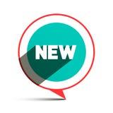 Nuevo título en el círculo - etiqueta plana del diseño del vector Fotografía de archivo libre de regalías