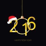 Nuevo vector feliz de 2016 años con el sombrero rojo Fotos de archivo