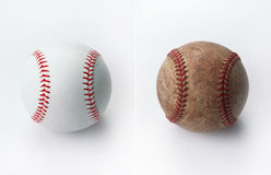 Nuevo y viejo béisbol fotografía de archivo