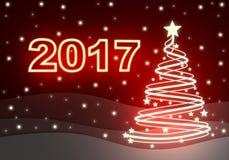 Nuevo Year& x27; tarjeta roja de s y muestra 2017 stock de ilustración