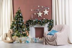 Nuevo Year& x27; s e interior de la Navidad Imagenes de archivo