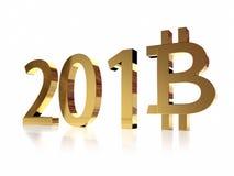 2018 nuevos años de Bitcoin Foto de archivo libre de regalías