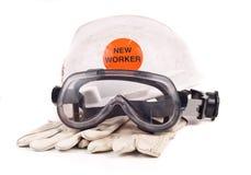 Nuevos accesorios de la seguridad del trabajador Imágenes de archivo libres de regalías