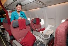 Nuevos asientos de la clase de asunto en Garuda Indonesia Imagen de archivo
