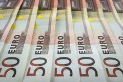 Nuevos 50 billetes de banco euro Fotos de archivo libres de regalías