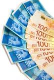 Nuevos billetes de banco israelíes con los nuevos 200, 100 de los shekels Fotos de archivo