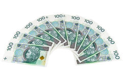 Nuevos billetes de banco polacos de 100 PLN Fotos de archivo