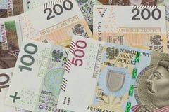 Nuevos billetes de banco polacos 100, 200 y 500 zlotys Imagen de archivo libre de regalías